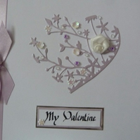 Lilac Rose Heart Valentines Day Card