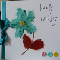 Turquoise Flower Birthday Card