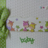 Cute Lime Green Baby Giraffe New Baby Card
