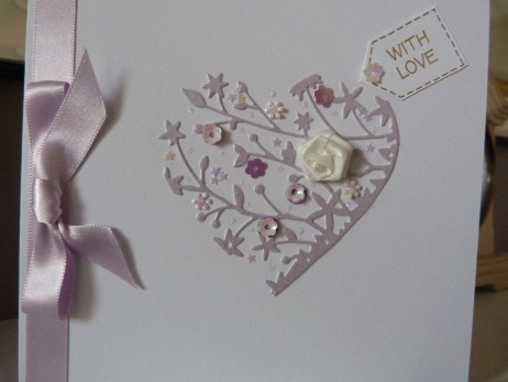 Lilac Flowery Heart Birthday Card