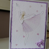 Ballet Dancer Stitched Birthday Card
