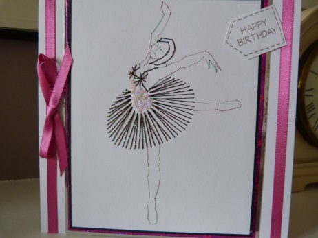 Black Swan Ballet Dancer Stitched Birthday Card