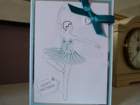 Turquoise Ballet Dancer Stitched Birthday Card