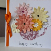 Cup of Flowers Birthday Card