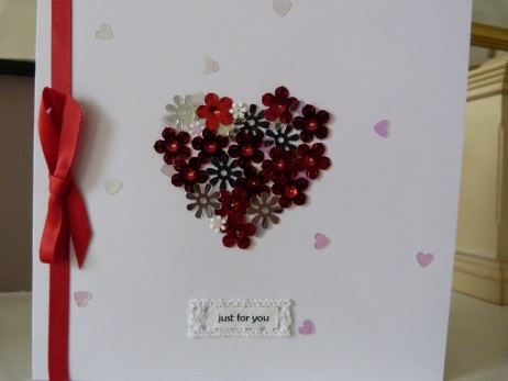 Red Glittery Heart Just for You card