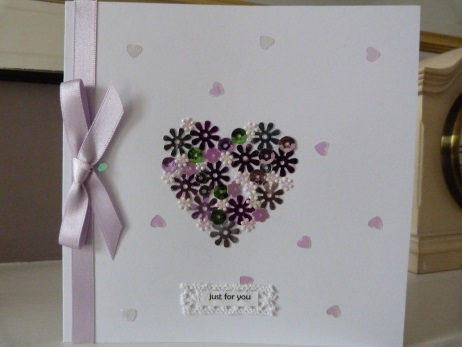 Glittery Heart Just For You card