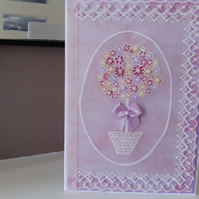 Flower lollipop tree parchment card