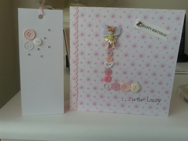 Cute fairy button initial card with gift tag