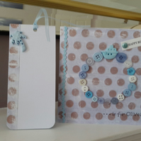 Childs initial personalised birthday  card with matching gift tag