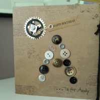 Male personalised initial button card