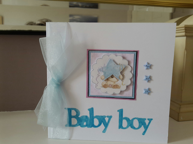 New baby boy star card