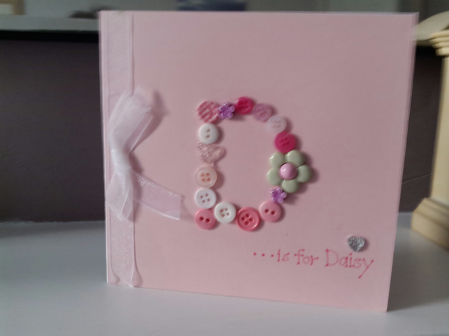 Little girls initial button personalised birthday card