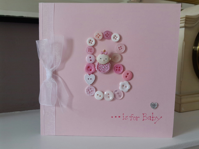 Button initial new baby girl card