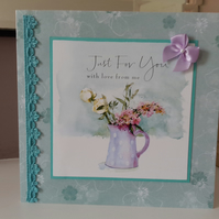 Jug of flowers birthday card