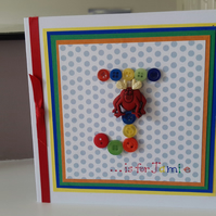 A fun initial button monster birthday card