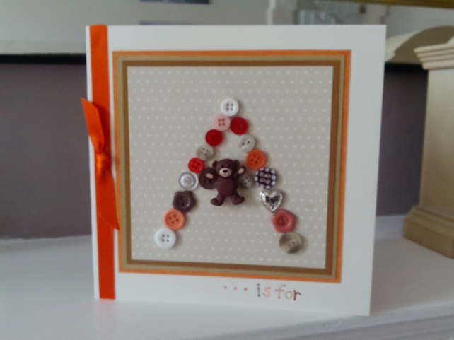 Childs personalised initial button birthday card