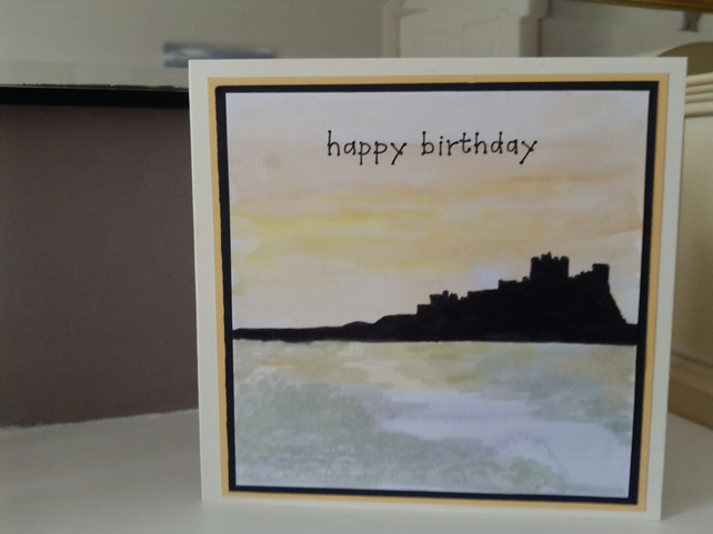 Bamburgh castle birthday card