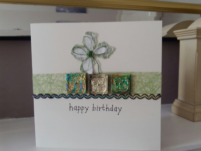 Green Celtic birthday card
