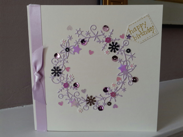 Circle of flowers birthday card