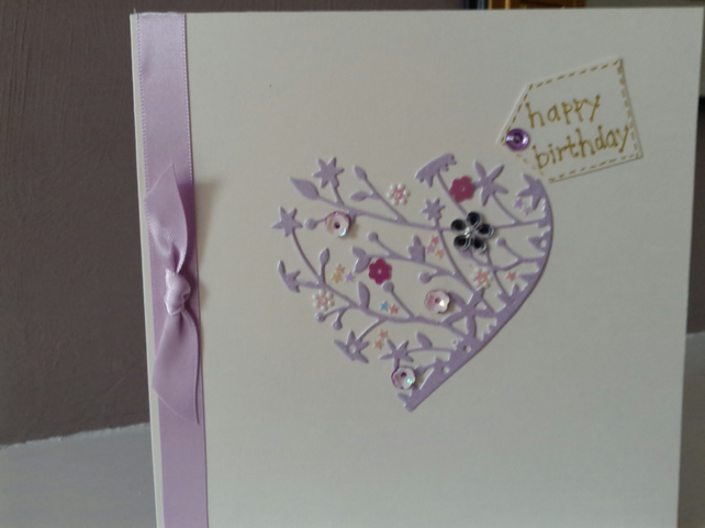 Happy birthday delicate heart card