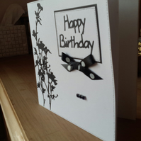 Mono wild flower birthday card