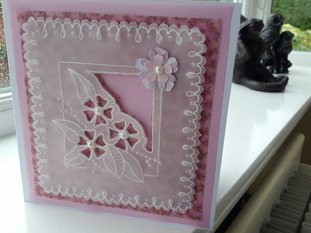 Pink flowers parchment card