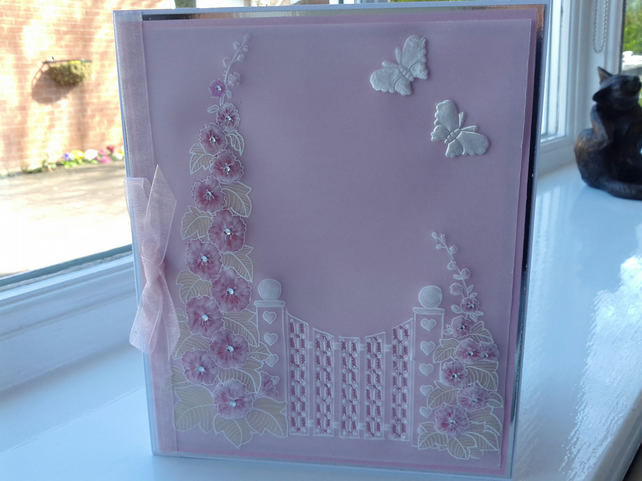 Pink hollyhock parchment card