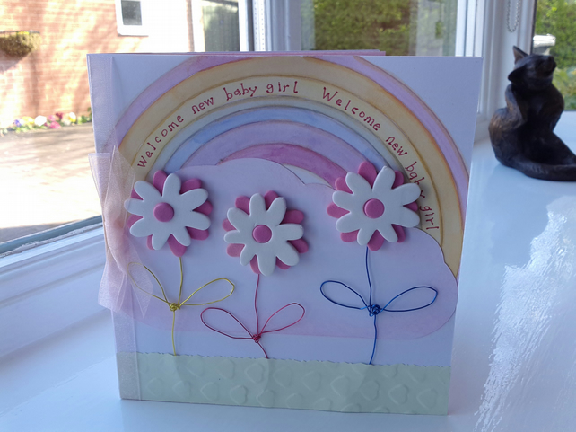 New baby girl rainbow card