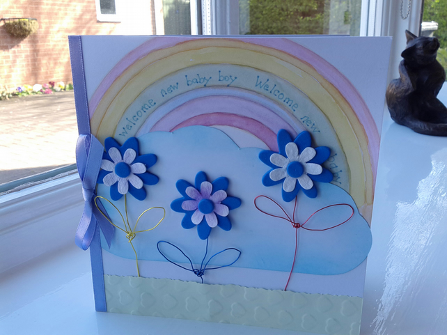 New baby boy rainbow card