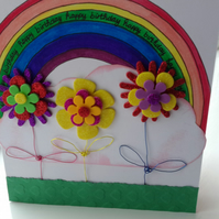 Personalised girls rainbow Birthday card