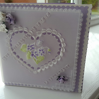 Romantic violet heart parchment card