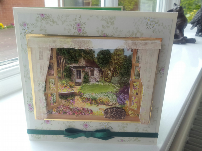 Cottage garden decoupage birthday card