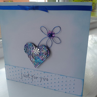 Just For You Blue Heart Spiral and Daisy Card
