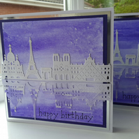 Paris skyline birthday card