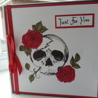 Goth skull and roses just for you card