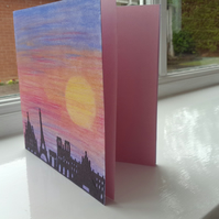 Sunset over Paris skyline card