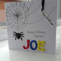 Child's incey wincey spider birthday card