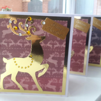 Pack of 4 luxury stag Christmas cards