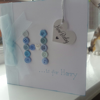 Cute button new baby boy card personalised