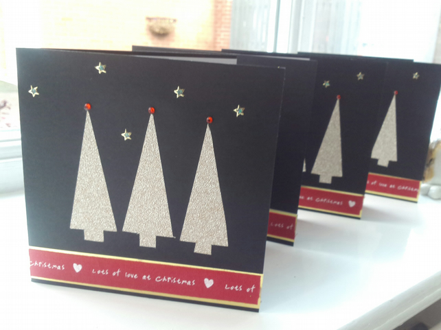 Pack of 4 Christmas tree Christmas cards