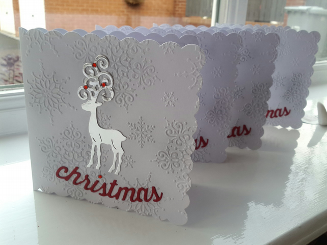 Pack of 4 reindeer Christmas cards