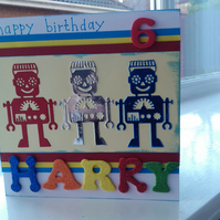 Personalised robot birthday card