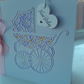 New baby girl pram card personalised