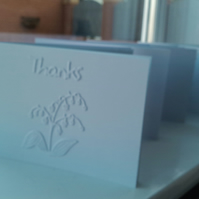Pack of 4  Lily of the valley thank you cards