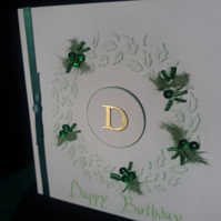Circle of Leaves Birthday card personalised