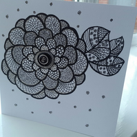Open dramatic flower card