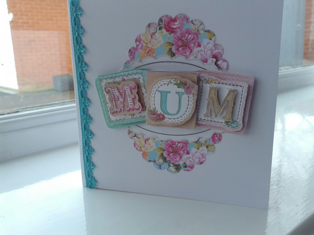 Floral decoupage card for mum