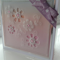 Just for you delicate floral parchment card