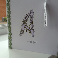 Personalised entwined leaf initial birthday card