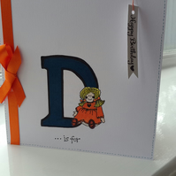 Personalised initial doll birthday card